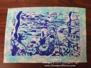 linoleum carving Print  with tissue paper  (2)